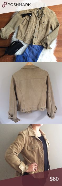 Gap Tan Suede Denim-Style Jacket What a steal of a jacket for fall! Real cow suede makes this piece heavier than you'd think, to keep out chilly autumn breezes. Perfect in place of your standard denim jacket, this will go with just about anything. 20in pit to pit, 22in collar to hem. 100% cow leather, 100% polyester lining. Great condition. GAP Jackets & Coats Jean Jackets