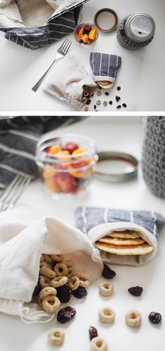 Zero-waste lunch and snack ideas // diy bento bags, snack packs, jar cozies