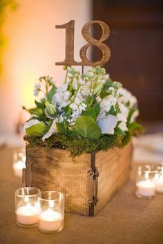 Love the wood planter box with the rusted hinges! This is a great way to display table numbers. Add a few more taller candles and maybe a taller skinnier arrangement and you have the perfect layered look!