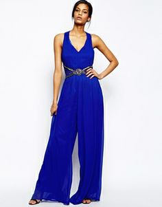 Little Mistress Jumpsuit with Cross back and Embellished Waist