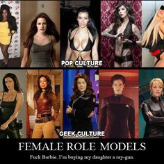 Female role models - I would rather be smart than sexy (taken from SliceofSciFi.com FB page)