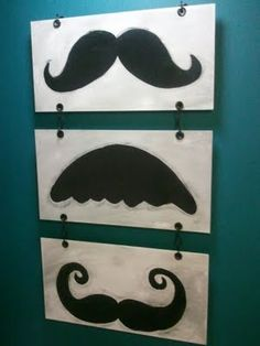 LOVE the mustache wall art.