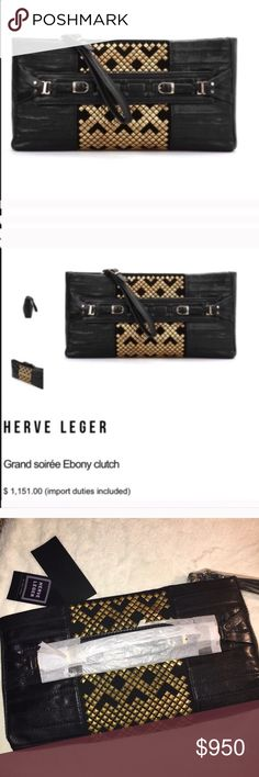 Herve Leger Grand Soirée Ebony Clutch Bag Black Herve Leger Grand Soirée Ebony Clutch Bag. NWT. Chic black leather clutch ideal for a grand soirée and detailed with a striped design, a gold-tone studs insert at centre creating geometrical shapes, front handle featuring double buckle and metal hardware, an adjustable leather wristlet with buckle & a top zip closure. Suede inner featuring metal logo plaque, an open pocket and zipped one. 100% Cow leather Lining: 100% Suede Dimensions (inches): 13 x 6,7 x 2 🔹Retail $1150 🔹 🌷Offers Welcomed🌷 Herve Leger Bags