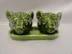 Vintage Bear Head Salt & Pepper Shakers on Tray Shiny JAPAN Arrow Jersey City NJ | Collectibles, Kitchen & Home, Kitchenware | eBay!
