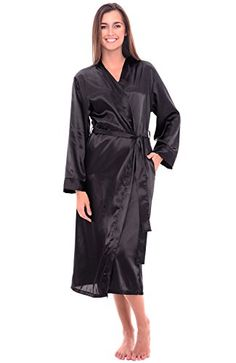 Del Rossa Women's Satin Robe, Long Dressing Gown - http://www.darrenblogs.com/2016/11/del-rossa-womens-satin-robe-long-dressing-gown/