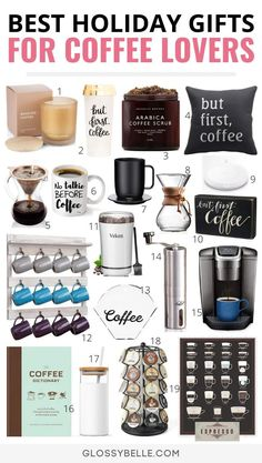Holiday Gift Guide 25 Of The Best Coffee Gifts For Coffee Lovers – Glossy Belle Looking for great gift ideas for coffee lovers? Here is the ultimate list of the best coffee gifts this holiday season that your friends & family will love. Coffee Lover Gifts, Gift For Lover, Lovers Gift, Starbucks Coffee, Irish Cream, Christmas Gift Guide, Holiday Gifts, Christmas Gifts, Santa Gifts