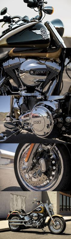 The original fat custom icon matches unmistakable style with a High Output Twin Cam 103B engine. | 2017 Harley-Davidson Fat Boy
