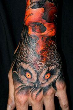 hand #tattoo #owl #skull