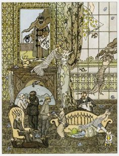 Illustration of teatime chaos by Edward Gorey (American, 1925–2000)
