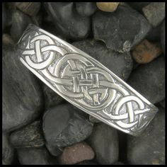 Sterling Silver Celtic cuff bracelet with knotwork.