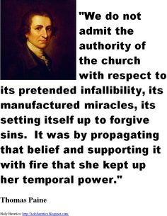 thomas paines philosophy on church ideology War, peace, and commerce in the ideology of tom paine  was conducive to  public readings in taverns, churches, and other meeting places,.