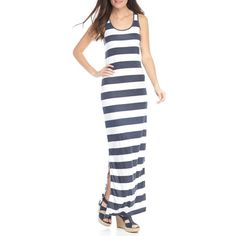 Michael Michael Kors True Navywhite Rugby Stripe Tank Maxi Dress -... ($98) ❤ liked on Polyvore featuring dresses, ribbed dress, knit maxi dress, white summer dress, embellished dress and rib knit dress