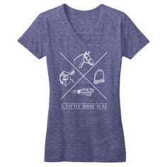 Horse Play - V Neck tee shirt by ONE Horse. Triblend fitted womens tee shirt. #equestrian #horse #equestrianstyle onehorsethreads.com