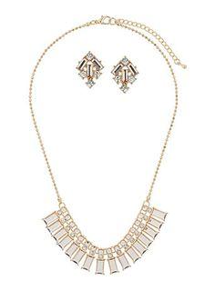 Baguette stone jewellery set