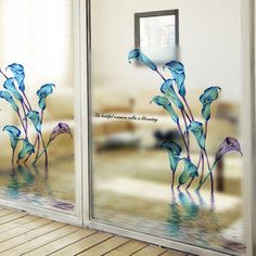 Cheap stickers muraux, Buy Quality wall sticker quotes directly from China stickers quotes Suppliers: Calla Lily Wall Sticker Flower Frosted Glass Film Paper Sliding Door Bathroom Wall Sticker Quotes DIY Wall Decor stickers muraux