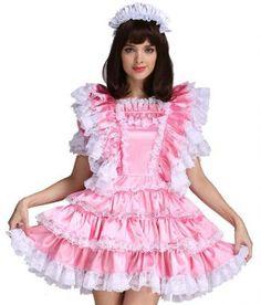 Gocebaby Sissy Girl Maid Satin Pink Lockable Crossdressing Dress Costume Uniform