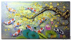 Tranh sơn dầu Đàn Cá Chép Dưới Bóng Hoa Mai M2146 được vẽ trên vải lanh với chất liệu sơn dầu, tranh thích hợp treo ở phòng khách, cầu thang, nhà hàng, khách sạn.... Tư vấn treo tranh miễn phí