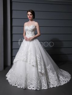 Luxury White Ball Gown Sweetheart Neck Applique Tiered Tulle Wedding Dress For Bride - Milanoo.com