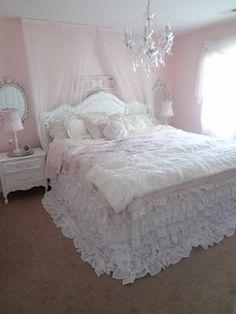 So cute! Fluffy, soft cozy shabby chic bedroom.