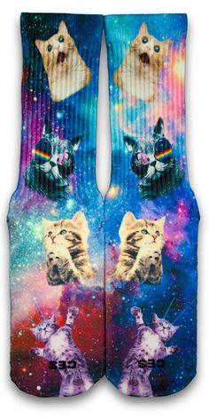 Featuring the most hilarious space kitten faces on a galaxy pattern. Silly Socks, Crazy Socks, Funny Socks, Cool Socks, Awesome Socks, Lacrosse Socks, Basketball Socks, Galaxy Pattern, Custom Socks