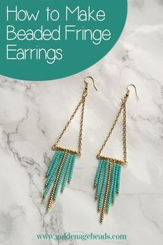 Beaded Fringe Earrings Tutorial - find out how to make these pretty earrings using seed beads, gold tone findings and chain!