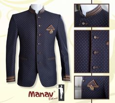 Be a style statement with this blue polka dot Jodhpuri Suit.  www.manavethnic.com