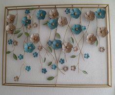 Metalen wanddecoratie Frame Flower Power - Bloemen - WANDDECORATIE METAAL   DEKOGIFTS
