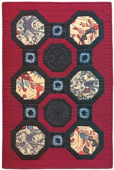 "Japanese Octogonal Block Quilt."" Two octagonal sashiko blocks ..."
