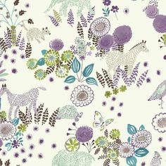 Reverie Wallpaper in Purple and Blue by York Wallcoverings