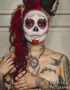 skull mask art women beautiful ink tats - Mexican Halloween Mask