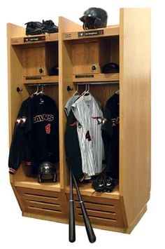 "Our Stadium Lockers are ideal for athletic teams in football, baseball, basketball and more. Locker body is made using 3/4"" thick red oak plywood with 3 coat catalyzed clear lacquer finish. Top shelf includes an open front storage compartment and a security cabinet with built-in combination lock and full length piano hinges.   #openaccesslockers #athleticlockers #athleticroomlockers"