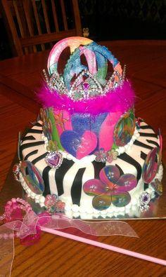 Princess Zebra Rainbow Peace Sign cake...for a girls 7th birthday