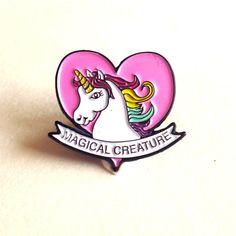 Pink Unicorn Pin Unicorn Enamel Pin Kawaii Pony by FatallyFeminine