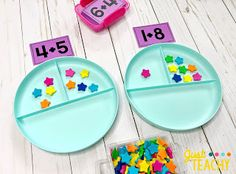Introducing Addition in Kindergarten Number Bond Plates with Addition Cards - Kids&Baby Toys Teaching Numbers, Numbers Kindergarten, Kindergarten Lessons, Preschool Learning, Kindergarten Classroom, Teaching Math, Kindergarten Addition, Fun Math, Preschool Activities