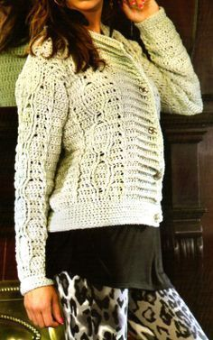 tejidos artesanales: saquito basico tejido en crochet (talle 42)