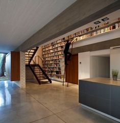 Bookshelf; layered space.