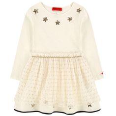 Sonia Rykiel Girls Ivory Fancy Multi-Fabric Dress