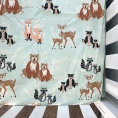 Woodland crib sheet baby girl deer teal by JonahNJane on Etsy
