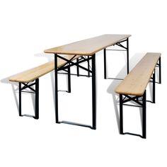 Garden Folding Table Outdoor Bench Set Camping Picnic Portable Wood Metal Seat  in Garden & Patio, Garden & Patio Furniture, Tables   eBay!