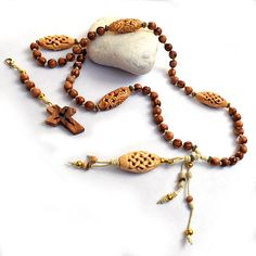 Holy Land wooden Rosary Olive wood rosary Long necklace