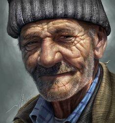 An old man  - drawing  + digital paint by JUDYAR.deviantart.com on @DeviantArt
