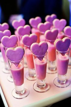 Heart cookies with milk shooters.