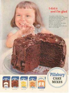 Pillsbury Cake Mixes Chocolate Fudge (1954) Vintage Ads Food, Vintage Advertising Signs, Vintage Baking, Retro Advertising, Retro Ads, Vintage Recipes, Vintage Advertisements, Vintage Images, Vintage Stuff