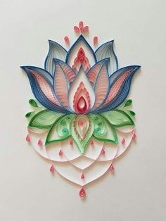 Lotus Flower Mandala, Quilling Wall Art, Comes Unframed Quiling Paper Art, Paper Quilling Cards, Paper Quilling Flowers, Paper Quilling Patterns, Paper Quilling Jewelry, Quilling Paper Craft, Paper Crafts, Quilling Flower Designs, Quilling Butterfly