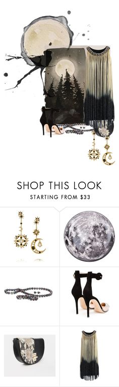 """""""Moonlight"""" by scifikimmi ❤ liked on Polyvore featuring Diego Percossi Papi, Seletti, Gianvito Rossi, ASOS, Chicwish, moon, art and watercolor"""