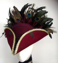 Steampunk pirate hat burgundy tricorn by Blackpin on Etsy