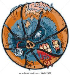 Vector Cartoon Clip Art Illustration of a Zombie Basketball! - stock vector