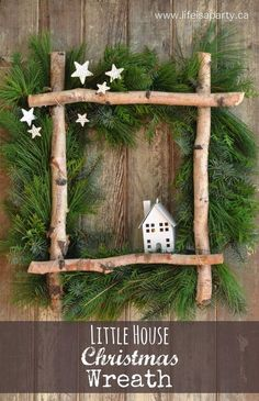 fensterdeko weihnachten Little House Christmas Wreath -full tutorial to make your own wreath from some gathered greens, birch logs, and a coat hanger. Perfect for Christmas. Noel Christmas, Rustic Christmas, All Things Christmas, Winter Christmas, Christmas Ornaments, Outdoor Christmas, Christmas Swags, Canadian Christmas, Christmas 2019