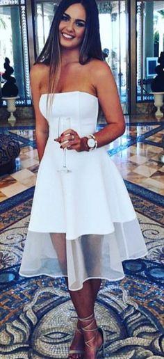 white Party Dress,Strapless White Evening Dress,Short White Prom Dress,Custom Formal Dress
