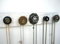 Jewelry Storage / Necklace Organizer with 5 Black and Brass Knobs